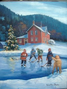 """Winter Games"" by Jacqueline Brochu Scenery Pictures, Winter Pictures, Christmas Pictures, Winter Painting, Winter Art, Winter Blue, Snow Scenes, Winter Scenes, Christmas Scenes"