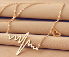New 2015 Fashion Cute Heart Beat Pendant Necklace Metal Alloy with Chain Made #Unbranded #Trendy