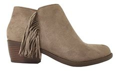 Lustacious Women's Almond Toe Side Fringe Western Ankle Bootie with Side Zipper, clay faux suede, 5.5 M US Soda http://www.amazon.com/dp/B018ZSLES0/ref=cm_sw_r_pi_dp_cK1ywb1WZQ19C