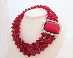 Les Bernard Runway Necklace Huge Red Bead by LadyandLibrarian