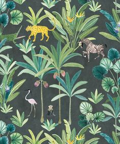 Animal Kingdom is a playful Jungle Wallpaper with birds of paradise, palm trees, monkeys, leopards, alligators and zebras. Shop with Afterpay! Hydrangea Wallpaper, Palm Wallpaper, Tropical Wallpaper, Botanical Wallpaper, Green Wallpaper, Wallpaper Panels, Striped Wallpaper, Animal Wallpaper, Wallpaper Roll