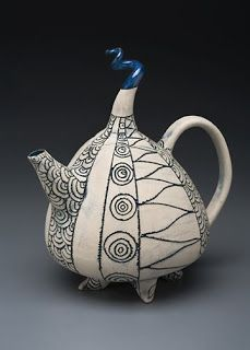 Margit Nellemann. Ceramic teapot. All her work is hand-built - either fully slab built or a combination of slab and coils.