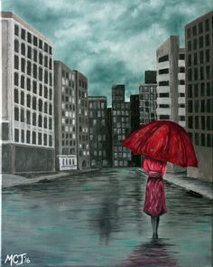 Ombrello Rosso - I found myself at another Paint and Sip almost two weeks ago.  The theme for the evening was a gray-scale city-scape with a woman in a red rain coat and umbrella.  I walked away that evening thinking I will just take it home and tweak it a bit.  Maybe add some blue to the sky and some windows to the buildings.  By the time I was done tweaking, I had repainted the whole canvas.  :D  Anyhow, what follows is a fun Oil Painting on a 16x20 Canvas.  #oilpainting #art