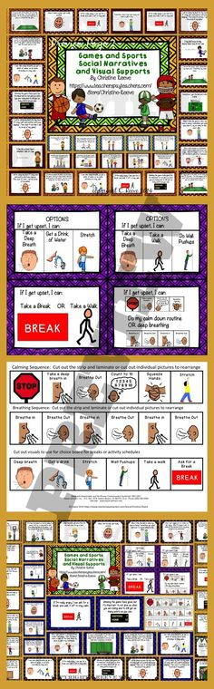 Have students who get upset when they are losing or want to tell teammates how to play?  These social narratives (stories) and visual supports provide information, the perspective of teammates and coping strategies to help them to display better sportsmanship.  There are 7 stories (football, baseball, lacrosse, soccer, and a general story) along with one about talking to teammates.  Plus option cards and visual supports.  $6