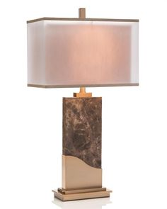Limited Production Design & Stock: Elegant Marble Art Profile Console Lamp * Bronze Brass Accents * 18 x 10 inch Twin Shimmer Shade * 150 Watts A Bulb * H: 35 inches * Partner Floor & Buffet Lamps Available