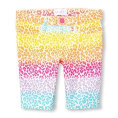 Girls Rainbow Leopard Print Skimmer Shorts
