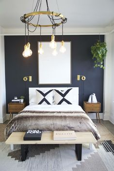 modern boho bedroom decor, modern bedroom with navy wall and brass sconce, modern bedroom light, boho bedding, boho bedroom design with faux fur and nightstand decor Dark Blue Bedroom Walls, Black Accent Walls, Dark Blue Walls, Accent Wall Bedroom, Bedroom Black, Bedroom Neutral, Neutral Walls, Bedroom Colors, Neutral Colors