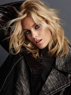 Anja Rubik models a black leather jacket for Vogue Portugal magazine June 2016 issue