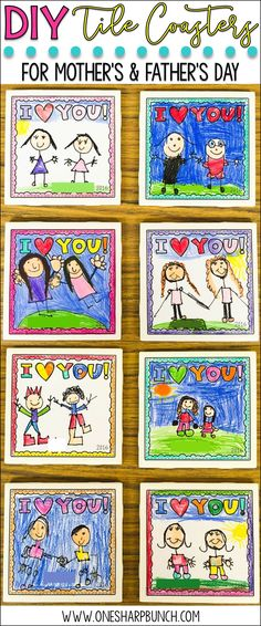 DIY tile coasters make the perfect Mother's Day gift or Father's Day gift from kids!  Grab the FREE Mother's Day printable to begin making your Mother's Day craft!  Also includes a Father's Day printable and generic printable perfect any other special person! via @onesharpbunch