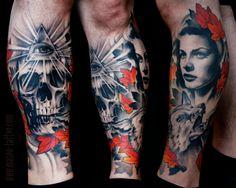 Sean's Leg with woman, fox and skull.  Artist: Mason Williams