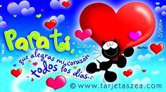 Tarjeta de amor, gato morfeo con corazones volando © ZEA www.tarjetaszea.com