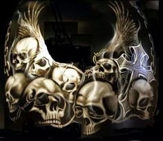 Change the skulls to angel with the reaper behind in the middle. Floral Skull Tattoos, Skull Tattoo Design, Skull Design, Airbrush Skull, Evil Skull Tattoo, Thor Tattoo, Motorcycle Paint Jobs, Motorcycle Parts, Skull Stencil