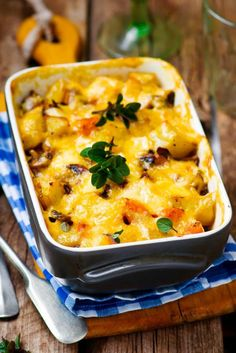 Casserole with pumpkin and mushrooms