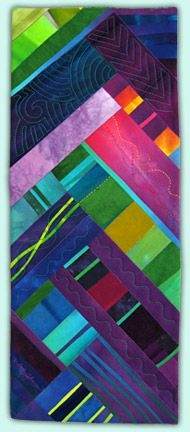 """Melody Johnson: Art Quilts. Chevron Tower, 2007, 9"""" x 21"""", Private Collection"""