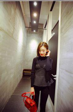 Women Slim Stripes Peplum Seamless Knit Top Blouse Sweater Pullover Black Fall