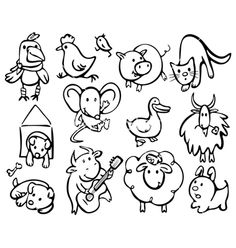Silhouettes of animals vector on VectorStock®