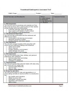 graphic relating to Printable Transition Assessments titled Transitional Kindergarten Investigation Device California