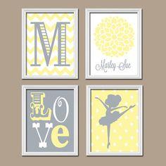 BALLERINA Monogram Child Name Initial Yellow Gray Grey Chevron Polka Dot Flower Love Nursery Artwork Set of 4 Prints Girl WALL ART Baby Crib