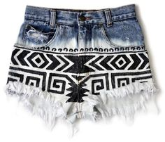 High Waisted Shorts DIY Ideas, Outfit Ideas, and Everything You Need ❤ sharpie Aztec Print Shorts, Tribal Shorts, Printed Shorts, Patterned Shorts, Printed Denim, Boho Shorts, Mode Chic, Mode Style, Denim Outfits