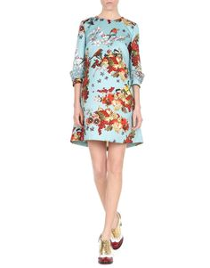 Autumn Blooming - Blugirl Fall Winter 2015/2016 • Cut from lustrous duchesse, this printed dress features three quarter sleeves and it is finished with hand-made embroideries of crystals. This embellished style has a pleat at the back that emphasizes the A line silhouette. Wear it to your next formal occasion with masculine brogues for a spontaneous and yet fresh touch.