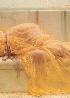John William Godward:  Girl in Yellow Drapery (1901) detail