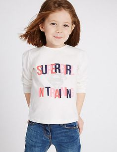 Pure Cotton Supergirl Top (3 Months - 5 Years) | M&S