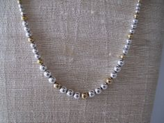 Napier Silver and Gold Bead Necklace Estate Jewelry