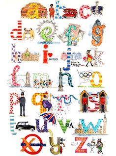 London alphabet print- a class might make one for your city or state.
