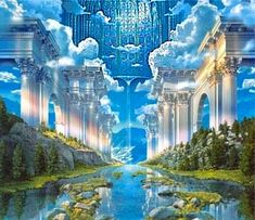 What Is Heaven Like? What Happens After Death? Is Heaven Real? Who Goes To Heaven? Where Is Heaven? What Is The New Jerusalem? These Questions & More will be Answered here about Heaven. Fantasy Places, Fantasy World, Fantasy Art, Frida Art, Prophetic Art, Fantasy Castle, Illustration, Fantasy Landscape, Christian Art