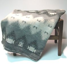 Vintage Indian Camp Blanket  Black Grey Cream by VintageCreekside, $38.00