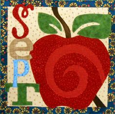 This is our new fabric kit from the Count On It Book.  The September looks great with our Happy Apple Quilt name.