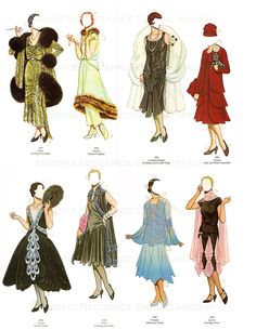 Flapper 1920s Fashion Paper Dolls Printable Vintage Dolls Art Deco 30 Dresses Paper Doll Party Dress Up Digital Download Collage Sheets