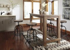 Pinnadel  Dining Room Bar Tabl & 4 Tall Swivel Stools