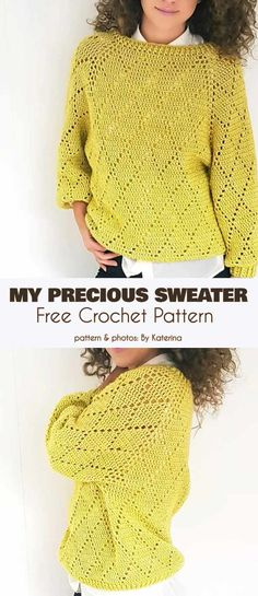 My Precious Sweater Free Crochet Pattern. The fact its named my precious just makes me laugh. Id love to see Gollum crochet a sweater. - Cardigans - Ideas of Cardigans T-shirt Au Crochet, Pull Crochet, Mode Crochet, Crochet Woman, Crochet Crafts, Crochet Doilies, Diy Crochet Clothes, Crochet Cardigan Pattern Free Women, Cardigan Au Crochet