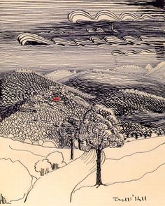 magictransistor:J. Tolkien, Trolls' Hill (ink on paper), Gandalf, Legolas, Tolkien Drawings, Illustrations, Illustration Art, John Howe, O Hobbit, Into The West, Jrr Tolkien