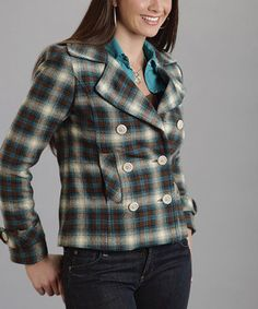 This Green Plaid Double-Breasted Wool-Blend Jacket - Women by Stetson is perfect! #zulilyfinds