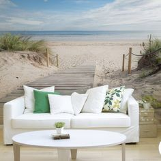 Office Wall Murals - Personalize your interior Beach Wall Murals, Wall Design, House Design, Handmade Home Decor, Living Room Modern, Interior Decorating, New Homes, Wall Decor, Beach Landscape