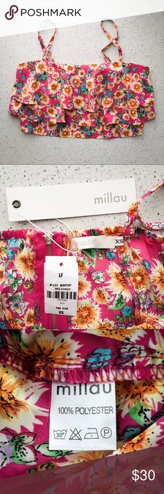 [lf] millau tiered floral flounce crop top • tiered flounce crop top in a thin woven fabric • by millau • color: pink w/ multicolor floral print • adjustable spaghetti straps, back exposed zipper • fitted bodice w/ tiered flowy top layers, slight sweetheart neckline • photos of xs, various sizes available • sold in lf stores • condition: nwt, never worn ____________________________________________________ ✅ make an offer!     ✅ i bundle! ✅ posh compliant closet ⛔️ no trades LF Tops Crop Tops