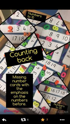 """Focus is on counting back and numbers which are less than. Inspired by Rachel ("""",) missing numbers activity. Problem Solving Activities, Number Activities, Continuous Provision, Key Stage 1, Skip Counting, Math Numbers, Numeracy, Eyfs, Phonics"""