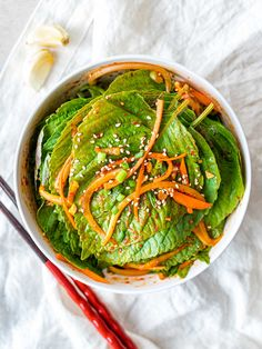 This Korean perilla leaf kimchi is a simple Korean side dish made with marinated perilla leaves in soy sauce Korean Side Dishes, Healthy Side Dishes, Korean Red Pepper Flakes, Easy Korean Recipes, Herb Salad, Low Sodium Soy Sauce, Shredded Carrot, Steamed Rice, Fish Sauce