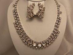 Signed Kramer Vintage Rhinestone Demi Necklace & by 3DoxieVintage