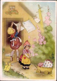 Mädchen hängen Wäsche auf