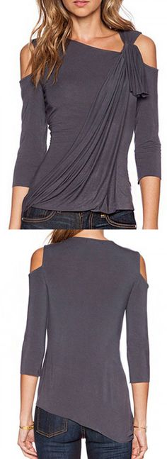 Super feminine top! Gray asymmetric neck cold shoulder twist ruched blouse. Love this chic look!!