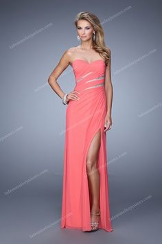 Amazing Sweetheart Strapless Side Slit Prom Gown by La Femme 21157