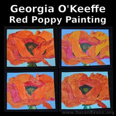 This post contains affiliate links. I was given access to the class to blog about it, which I was very glad to do. This is the sixth and final week Kids Painting Projects, Projects For Kids, Art Auction Projects, Art Projects, Famous Artists For Kids, Montessori Art, Georgia Okeefe, Watercolor Poppies, Preschool Art