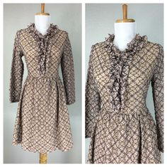 VINTAGE 1960s PINK GRAY ILLUSION LACE RUFFLED NECKLINE FLORAL DRESS XS