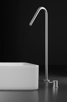 Stainless steel single-hole, raised deck-mount basin spout Italian-made stainless steel raised deck-mount basin spout, suitable for blu
