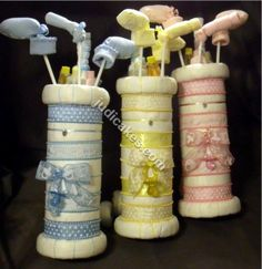 Golf Bag Diaper Cake Baby Shower Gift Centerpiece | Baby, Diapering, Diaper Cakes | eBay!