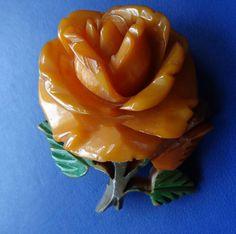 vintage art deco amber BAKELITE 3D carved rose flower brooch c pin -C542