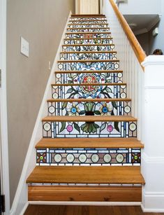 Fancy Pattern 1 Stairs Risers Decoration Photo Mural Vinyl Decal Wallpaper CA Stairway Art, Stairway To Heaven, Stained Glass Flowers, Stained Glass Windows, Mosaic Glass, Glass Art, Wine Glass, Escalier Art, Vinyl Panels